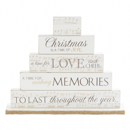 Inspiration Christmas Plaque - Wooden Christmas Decoration Cream & Gold MDF Christmas Memories Mantel Plaque